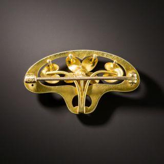 Art Nouveau Enamel Diamond Flower Brooch by Krementz