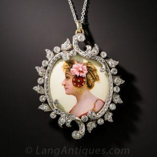 Antique Enamel and Diamond Portrait Pendant, Circa 1900 - 2