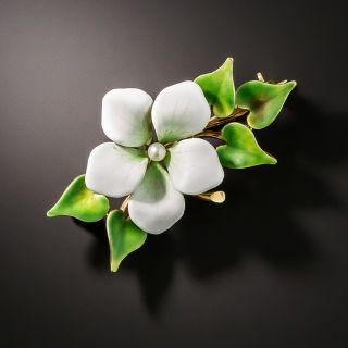Art Nouveau Enamel Flower and Ivy Brooch - 1
