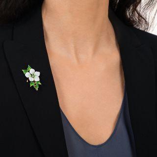 Art Nouveau Enamel Flower and Ivy Brooch