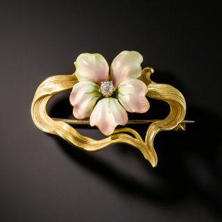 Art Nouveau Enamel Flower Pin by Henry Blank & Co.