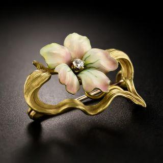 Art Nouveau Enamel Flower Pin by Henry Blank & Co.  - 4