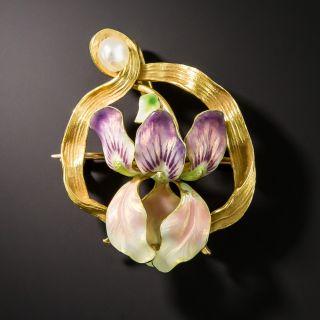 Art Nouveau Enamel Iris Pin