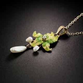 Art Nouveau Enamel Pearl and Diamond Leaf Necklace