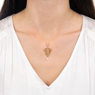 Art Nouveau Enamel, Pearl and Diamond Pendant by Krementz