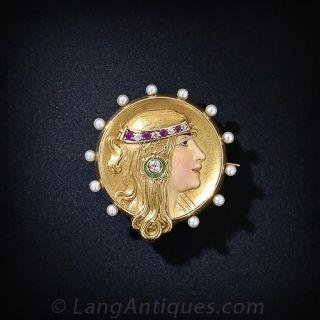Art Nouveau Enamel Portrait Watch Pin - Circa 1905 - 1
