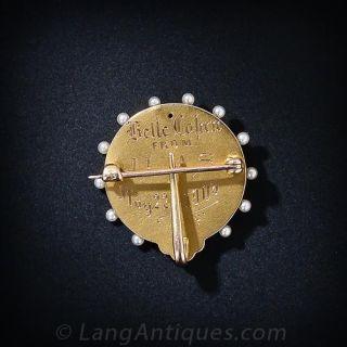 Art Nouveau Enamel Portrait Watch Pin - Circa 1905