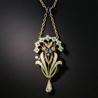 Art Nouveau Enamel Sapphire Pearl Pendant Necklace - 1