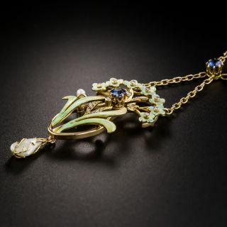 Art Nouveau Enamel Sapphire Pearl Pendant Necklace