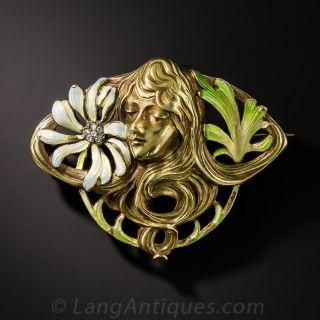 Art Nouveau Enameled Brooch - 1