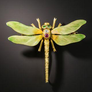 Art Nouveau Enameled Dragonfly by Riker Bros. - 2