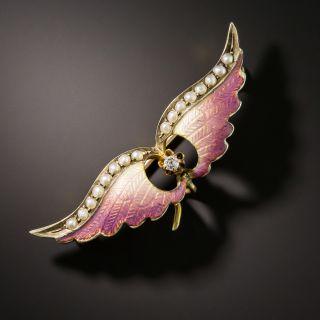 Art Nouveau Enameled Wing Brooch  - 2