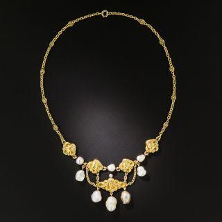 Art Nouveau Fresh Water Pearl Necklace