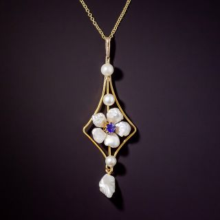 Art Nouveau Freshwater Pearl Flower and Garnet and Glass Doublet Necklace - 1