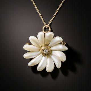 Art Nouveau Freshwater Pearl Flower Pendant/Pin - 3