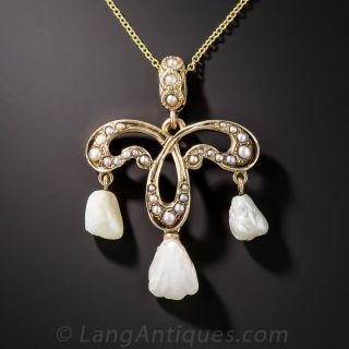 Art Nouveau Freshwater Pearl Pendant