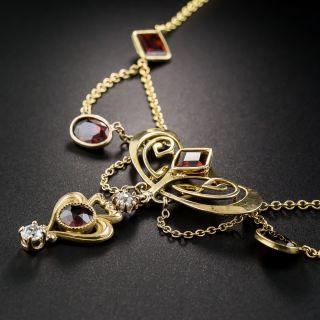 Art Nouveau Garnet and Diamond Necklace