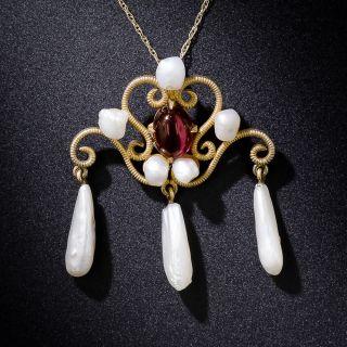 Art Nouveau Garnet and Freshwater Pearl Pendant