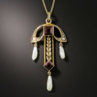 Art Nouveau Garnet and Pearl Necklace by Moore and Son - 2