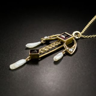 Art Nouveau Garnet and Pearl Necklace by Moore and Son