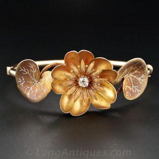 Art Nouveau Gold and Diamond Waterlily Bracelets and Brooch