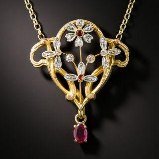 Art Nouveau Gold and Platinum Ruby and Diamond Pendant Necklace - 2