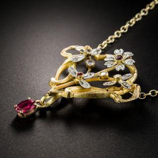 Art Nouveau Ruby And Diamond Pendant Necklace