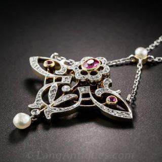 Art Nouveau Hot Pink Sapphire Necklace