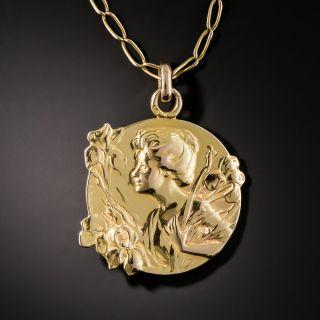 Art Nouveau Iris Medal Pendant - 2
