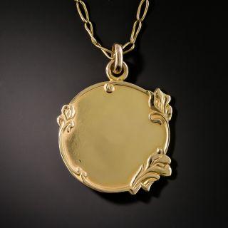 Art Nouveau Iris Medal Pendant