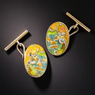 Art Nouveau Japonesque Poly-Chrome Enamel Cufflinks - 1