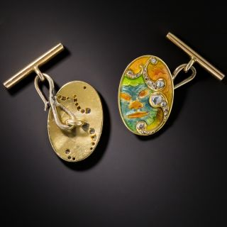 Art Nouveau Japonesque Poly-Chrome Enamel Cufflinks