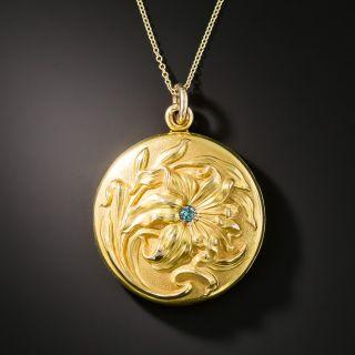 Art Nouveau Lily Motif Locket Pendant - 2