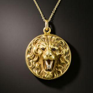 Art Nouveau Lion Pendant Locket - 2