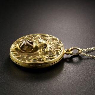 Art Nouveau Lion Pendant Locket