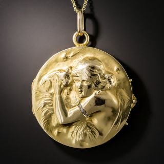 Art Nouveau Locket with Woman and Kitten