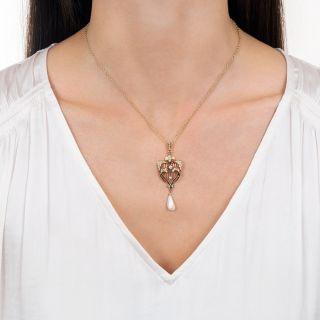Art Nouveau Lyre and Heart Necklace