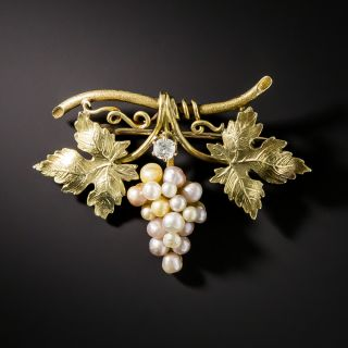 Art Nouveau Natural Pearl and Diamond Grape Cluster Pin - 2