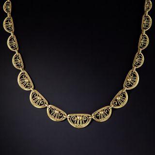 Art Nouveau Palmette Gold Necklace - 0