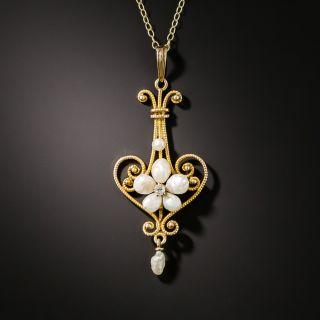 Art Nouveau Pearl and Diamond Necklace - 2