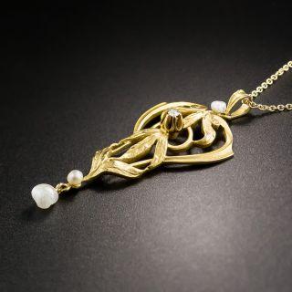 Art Nouveau Pearl and Diamond Necklace