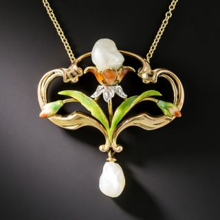 Art Nouveau Pearl and Diamond Necklace by Bippart, Bennett & Co. - 2