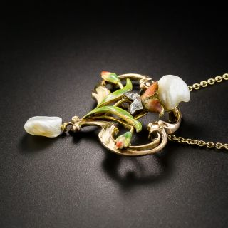 Art Nouveau Pearl and Diamond Necklace by Bippart, Bennett & Co.