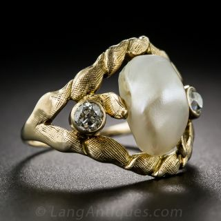 Art Nouveau Pearl and Diamond Ring