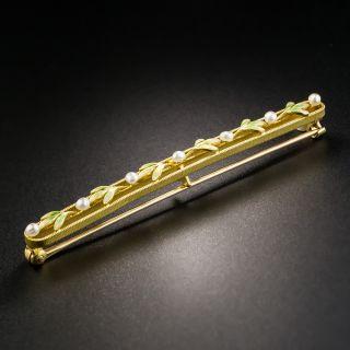 Art Nouveau Pearl and Enamel Bar Pin by Krementz - 4