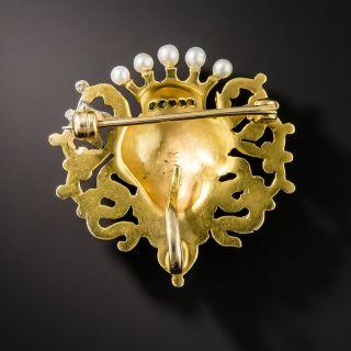 Art Nouveau Pearl Diamond and Demantoid Pin