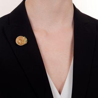 Art Nouveau Pearl, Diamond, and Enamel Pin by Krementz