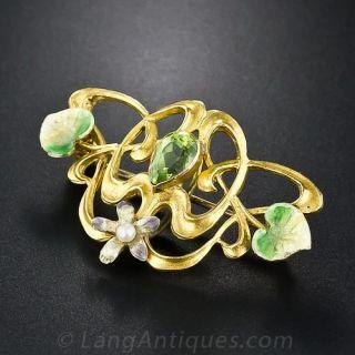 Art Nouveau Peridot and Enamel Pin