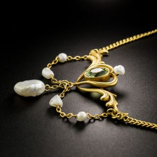 Art Nouveau Peridot And Freshwater Pearl Necklace