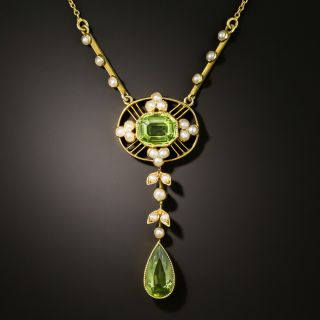 Art Nouveau Peridot and Pearl Drop Necklace - 2